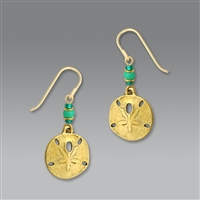 Sienna Sky Earrings-Antique Gold Plated Sand Dollar with Beads
