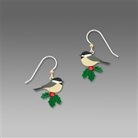 Sienna Sky Earrings - Christmas Chickadee Perched on Holly with Red Rhinestones