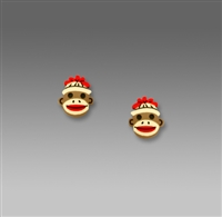 Sienna Sky Earrings-Small Sock Monkey Face Post