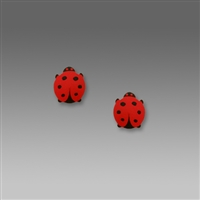 Sienna Sky Earrings-Small Red & Black Ladybug Post