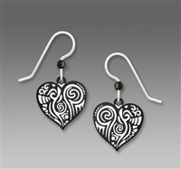 Sienna Sky Earrings-Black & White Fanciful Heart Drop