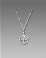 DISC. Sienna Sky Necklace- Silvery Tree of Life Filigree Disc