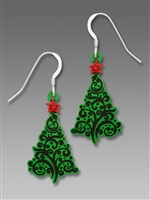 Sienna Sky Earrings - Christmas Tree with Swirl Design & Red Star