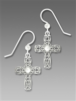 Sienna Sky Earrings - Celtic Style Imitation Rhodium Cross with Pearl Cabochon