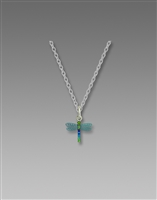 Sienna Sky Necklace- Teal & Multi Colored Dragonfly with Beaded Tail
