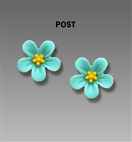 Sienna Sky Earrings-Aqua & Yellow Flower Post