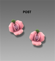 Sienna Sky Earrings- Small Pink 3D Rosebud Post