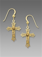 Sienna Sky Earrings-Gold Tone Filigree Cross