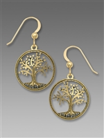 Sienna Sky Earrings-Gold Tone Tree of Life Filigree Disc
