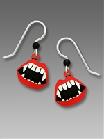 Sienna Sky Earrings- Vampire Fangs with Red Lipstick