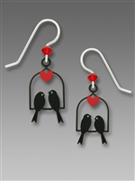 Sienna Sky Earrings - Black Birds on a Swing with a Red Heart