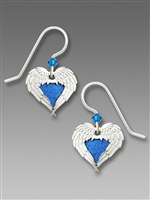 Sienna Sky Earrings - Blue Heart with Shiny Silver Tone Angel Wings