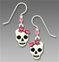 Sienna Sky Earrings- Day of the Dead Skull with Bow
