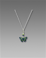 Sienna Sky Necklace-Green Dark Blue Fantasy Butterfly