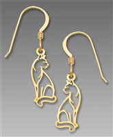Sienna Sky Earrings- Gold Tone Cat Outline