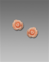 Sienna Sky Earrings- 3D Peachy Pink Resin Rose Post