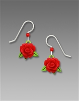DISC. Sienna Sky Earrings-3D Resin Red Rose with Green Leaf