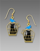 Sienna Sky Earrings - Cat in Cage with Bluebird