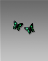 Seinna Sky Earrings-Emerald Green 3-D Small Butterfly Post