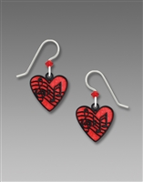 Sienna Sky Earrings -Red Heart with Black Music Symbols