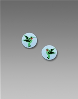Sienna Sky Earrings- Small Blue Disc with Hummingbird