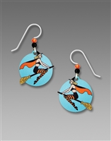 Sienna Sky Earrings - Vintage Witch on Broomstick