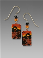 Sienna Sky Earrings - Black & Orange Halloween Scene