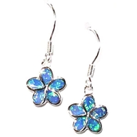 Sterling Silver Dangle Earrings- Lab Created Opal - Blue