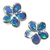 Sterling Silver Post Earrings- Lab Created Opal - Blue