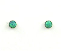 Sterling Silver Post Earrings- Lab Created Opal -Green