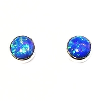 Sterling Silver Post Earrings- Lab Created Opal -Blue
