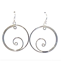 Sterling Silver Dangle Earrings- Swirl in Circle
