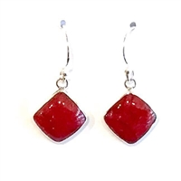 Sterling Silver Dangle Earrings- Red Coral