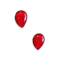 Sterling Silver Post Earrings- Red Coral