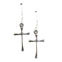 Sterling Silver Dangle Earrings- Cross