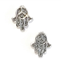 Sterling Silver Post Earrings- Hamsa Hand