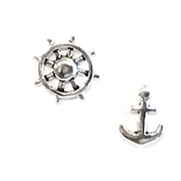 Sterling Silver Post Earrings- Anchor & Captain's Wheel