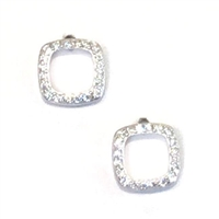 Sterling Silver Post Earrings- Cubic Zirconia Diamond Shape