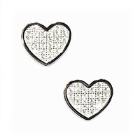 Sterling Silver Post Earrings- Micro Pave CZ Small Heart