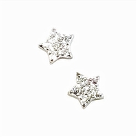 Sterling Silver Post Earrings- Cubic Zirconia Tiny Stars