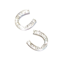 Sterling Silver Post Earrings- Cubic Zirconia Horse Shoe