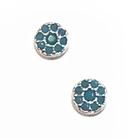 Sterling Silver Tiny Round Post Earrings- Turquoise Cubic Zirconia