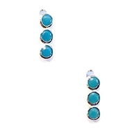 Sterling Silver Tiny Bar Post Earrings- Turquoise Cubic Zirconia
