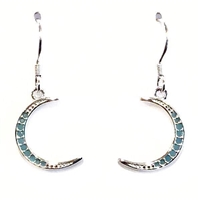 Sterling Silver Dangle Earrings- Turquoise Cubic Zirconia Moon