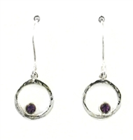 Sterling Silver Dangle Earrings- Amethyst