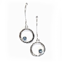 Sterling Silver Dangle Earrings- Blue Topaz