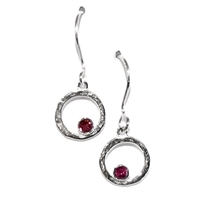 Sterling Silver Dangle Earrings- Garnet