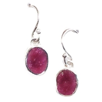 Sterling Silver Dangle Earrings- Rough Cut Ruby