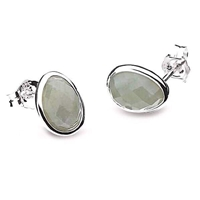 "Sterling Silver Post Earrings-""Pebble"" Faceted Labradorite"