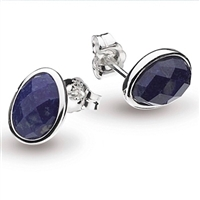 "Sterling Silver Post Earrings-""Pebble"" Faceted Lapis"